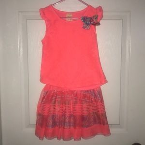 Matching Coral Top & Skirt for Girls